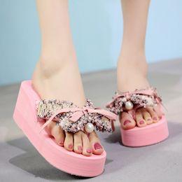 $enCountryForm.capitalKeyWord Australia - Korean sweet mixed colors tassel bow-knot flipflops women shoes summer beach platform sandals riband bowtied wedges slippers