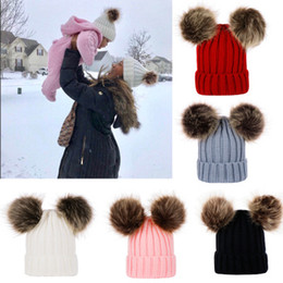 Discount winter fur outfits - Hats Winter Beanie Hats Mom And Baby Family Matching Outfits Newborn baby Double fur Ball pop Crochet Hats B11