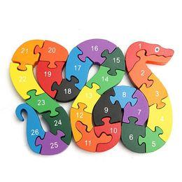 $enCountryForm.capitalKeyWord Australia - Baby Kids Children Wooden Toys Alphabet Number Building Jigsaw Puzzle Snake Shape Funny Digital Puzlzle Game Educational Toys SH190715