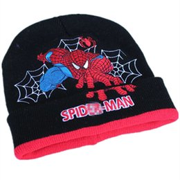 embroidered knit hats Australia - Cartoon Super Hero Spider man Hat Knitting Cotton Wool Beanies Plush Winter Warm Ear protection cap Kid Embroidered folding Hats
