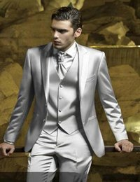 Light grey satin groom suit online shopping - New High Quality Two Button Silver Grey Groom Tuxedos Peak Lapel Groomsmen Best Man Suits Mens Wedding Suits Jacket Pants Vest Tie