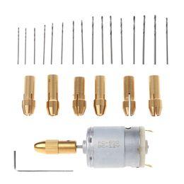 rotary tool drill bits 2019 - Diy-002-16 Mini Electric Hand Drill Small 12V Motor+ 0.8-1.5Mm Twist Drill Bit Rotary Tool cheap rotary tool drill bits