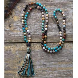 6mm Mala Beads Australia - Women Beads Necklace 6MM Natural Stone Lava Rock Tassel Necklace New Boho Lariat Mala Yoga Necklace Dropshipping