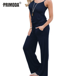 $enCountryForm.capitalKeyWord NZ - Summer Spaghetti Strap Jumpsuits New Women Rompers Red Casual Jumpsuit Female Overalls Loose Wide Leg Long Pants 2xl Plus Size Y19071701
