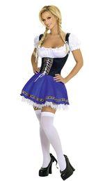 Bavarian costume women online shopping - Adult Women Blue Oktoberfest Costume Bavarian Beer Girl Costume Wench Beer Maid Fancy Dress