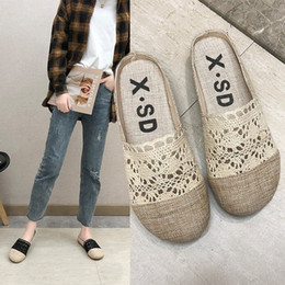 flax clothing NZ - Fairy2019 Flat Sandals Flax Bottom Baotou Ventilation Half Woman Outside Clothes Cool Slipper Tide