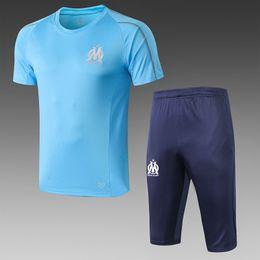 Soccer Training Shirts Australia - 2019 Olympic de Marseille Soccer jersey training suit short sleeve Polo shirts 3 4 Pants 18 19 Marseille Training Suit Football shirts