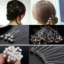 Hairpin stick online shopping - Korean Style Women Wedding Accessories Bridal Pearl Hairpins Flower Crystal Rhinestone Hair Pins Clips Bridesmaid Hair Jewelry