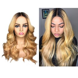 Two Tone Wavy Hair Australia - Brazilian Ombre Body Wavy Glueless Full Lace Human Hair Wigs 1B 27 Honey Blonde Two Tone Lace Front Wigs 130 Density Bleached Knots