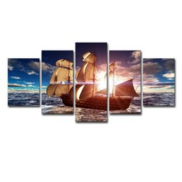 Painted Wall Hangings UK - (Only Canvas No Frame) 5Pcs Sunshine Sailboat Painting Sailing Boat Seascape Wall Art HD Print Canvas Painting Fashion Hanging Pictures