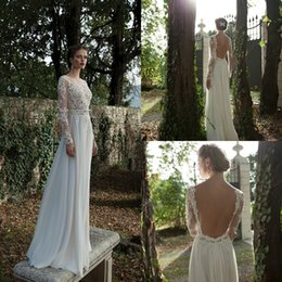 340d2ef8c62 beautiful berta beach wedding dresses with long sleeves illusion top lace  sexy backless bohemian wedding dress cheap boho bridal gowns 2019