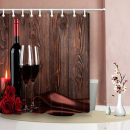 Wine curtains online shopping - Red wine and wooden wall bathroom shower curtain Durable Fabric Mildew Bathroom Accessories Creative with Hooks X180CM
