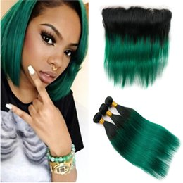 brazilian straight hair 3bundles 18 inches Australia - #1B Green Ombre Straight Brazilian Hair Wefts with Frontal Black to Dark Green Ombre Human Hair Weaves 3Bundles with 13x4 Lace Frontal