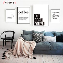 family love wall decor Canada - Coffee Quotes Posters Prints Modern Canvas Painting On The Wall Love Coffee Art For Kitchen Living Room Home Decor Family Gift