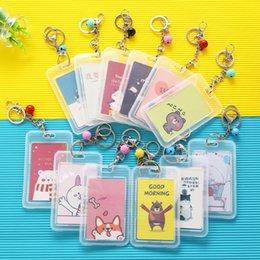 $enCountryForm.capitalKeyWord Australia - Simple Translucent Business Card Holder Fashion Student Badge Bus Card Set Cute Animal Bell Key Chain Id Name Badge Cards Cover