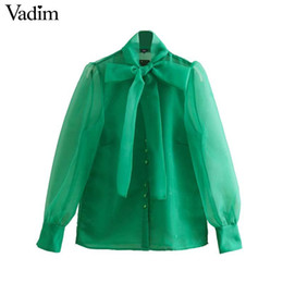 Wholesale Vadim women green organza blouse lantern sleeve bow tie collar stylish female casual shirt long sleeve solid tops blusas LA898