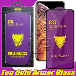 3d glasses sold online shopping - Top selling Gold armor Tempered Glass Screen Protector for iPhone X XR Xs max Samsung Protective Glass with package
