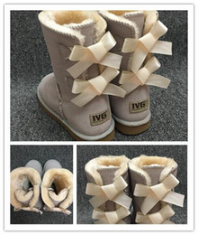 Hot leatHer lady boots online shopping - Hot SALE Fashion Women Snow Boots Bow Back Decoration Australian Style Cow Suede Leather Winter Lady Outdoor Boots Brand Ivg