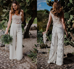 orange chiffon beach wedding dress Australia - Modest Two Pieces Wedding Jumpsuits Recetion Beach Dresses Gowns Applique Chiffon Beaded Sequins Boho Wedding dress Bridal Gowns