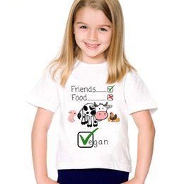 $enCountryForm.capitalKeyWord Australia - Cartoon Print Animals Are Friends Not Food Children T-shirts Kids Go Vegan Summer Tees Boys Girls Cute Tops Baby Clothes,HKP5173