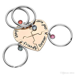 "puzzle best Australia - 4pcs set ""best friend forever and ever"" BFF Friend Keychain Set 4 Pieces Heart Shape Puzzle Bead Friendship Key Ring"