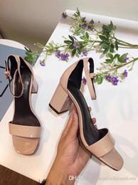 $enCountryForm.capitalKeyWord NZ - Thick Heeled Patent Leather Fashion Summer Gladiator Sandals Shoes Black Nude White Red Women Wedding Dress Fashion Sandals Zapatos