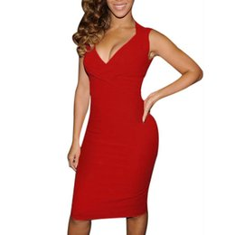 wholesale club costume NZ - Ladies Party Dresses Red Black Sexy Sleeveless Summer Costume Womens Bodycon Sleeveless Dress Size 6 - 14