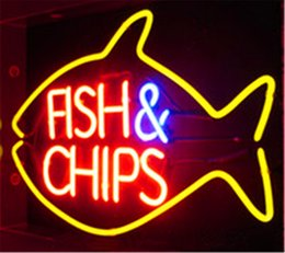 Night Fishing Glasses Australia - New Star Neon Sign Factory 17X14 Inches Real Glass Neon Sign Light for Beer Bar Pub Garage Room Fish & Chips.