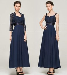 Mother Bride Dark Navy Dress Australia - 2019 New ankle-length Dark navy Chiffon Lace With Lace A-line Mother Of The Bride Dresses with long sleeve jacket Vestidos De Novia