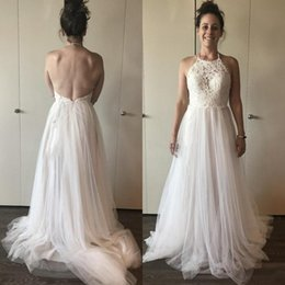 beach wedding dresses halter style 2020 - 2020 Country Style Keyhole Neck A Line Tulle Wedding Dresses Open Back Lace Top Bridal Gowns Plus Size Boho Wedding Dres