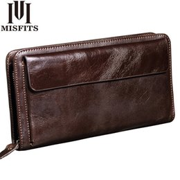 $enCountryForm.capitalKeyWord Australia - Misfits New Men Wallet Genuine Leather Brand Vintage Organizer Wallets Male Clutch Bag Zipper Coin Purse Cell Phone Long Purse MX190719