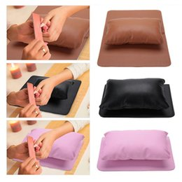 Folding Art Table NZ - Nail Art Equipment Hand Rest Cushion Pillow Soft PU Leather Hand + Folding Manicure Table Mat Manicure Nail Equipment a