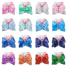 snowflake clip 2019 - JOJO Siwa Hair Bows 16 Designs Snowflake Styles Jojo Bows With Clip hair accessories for girls 8 inch Large Hair Bow SS1