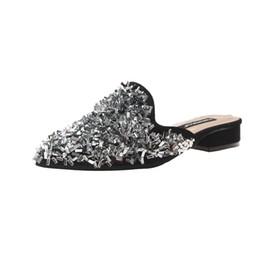 ElEgant flip flops online shopping - Female flip flops elegant slippers Women s Summer Sandals Shoes pointed toe Low heels Shoes Popular Shining sequins slippers