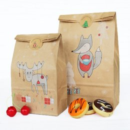 Christmas Gift Bag Paper Australia - New Arrival Kraft Paper Baking Packing Bag Pastry Candy Bag Christmas Gift Bag with Stickers W9779