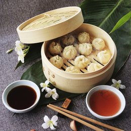 Bun Steamer Australia - Natural Bamboo Steamer 15CM Hand Made Round Mini Steamers Vegetable Dumpling Bun Cooking Tools 300 Pieces DHL