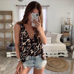 $enCountryForm.capitalKeyWord Australia - Women Tank Tops Leopard Print V Neck Sleeveless Tops Sexy Ladies Evening Party Clubwear Casual Femme Summer Loose Clothes