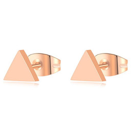 $enCountryForm.capitalKeyWord UK - New Fashion 316L Surgical Stainless Steel Small Triangle Stud Earrings Laser Cutting Design Earring IP Rose Gold High Polishing