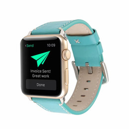 Band Belts UK - Calf Leather Strap For Apple Watch Band 42mm Series 38mm Bracelet Replacement Genuine Leather Watch Belt High Quality Stainless Pins Clasp