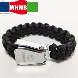 $enCountryForm.capitalKeyWord Australia - AIRBUS BEOING Fashion bracelets men black rope braided stainless steel airplane seat belt buckle handmade male wrist band gifts