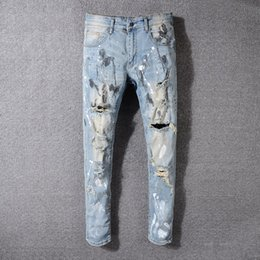 Sky Blue Jeans Australia - New products Italy Style#530# Men's Painter Distressed Hollow Out Pants Flares Patches Blue Denim Skinny Jeans Slim Trousers Size 28-42