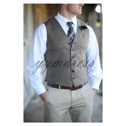 Formal Suits Waistcoat Australia - 2019 Brown Men Suits Vests Custom Made Wedding Groom Vest Prom Waistcoat New Style Formal Business Wear Vest