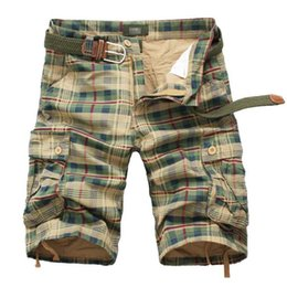 Discount mens military cargo camouflage pants Fashion Plaid Beach Shorts Mens Casual Camo Camouflage Shorts Military Short Pants Male Cargo Overalls Men Shorts