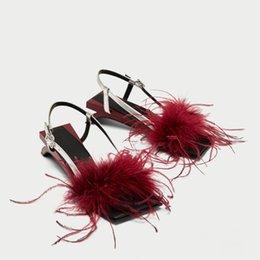 $enCountryForm.capitalKeyWord Australia - fur decor square toe sandal Rectangular sole sexy strange style heel shoes travel low heel gladiator sandals 2 colors