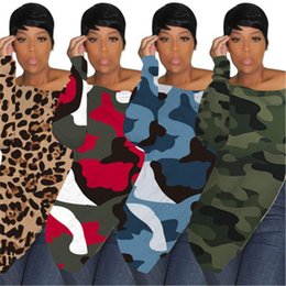 off shoulder designs shirt NZ - Long-sleeved womens hoodies Off shoulder long shirt irregular zippers design Fashion Sexy sweatshirt Camouflage Leopard pullovers plus-size