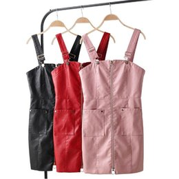 $enCountryForm.capitalKeyWord Australia - Autumn PU Leather Mini Dress Women pocket Zipper Sexy braces Dresses Female 2019 Winter short black red Pink Sleeveless Faux leather dress