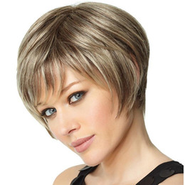 Photo Couleur Cheveux Afro Cheveux Courts Coupes Blonde Bob Perruque Fluffy Mode Mix Avec Bangs Droit Synthétique Perruques Afro-Américaines Pour Les Femmes