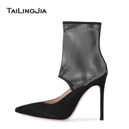 Discount sexy mesh boots - Sexy High Heel Mesh Booties Pointed Toe Black Women Ankle Boots Latest Summer Spring Ladies Heeled Party Shoes Stiletto