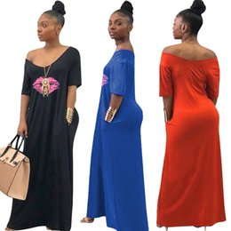 $enCountryForm.capitalKeyWord NZ - Women Maxi Dress Summer V Neck Lips Print Ladies Casual Long Dresses Fashion Short Sleeve Off Shoulder Beach African Sundress New C43007