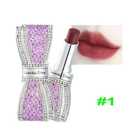 $enCountryForm.capitalKeyWord Australia - One Piece Luxurious Diamond Lipstick Bow-Shaped Matte Lipstick Long Lasting Nutritious Lip Stick Top Quality Cosmetic Have 8 Color
